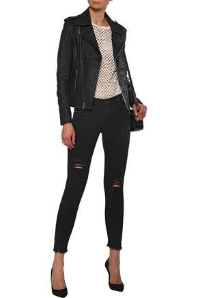 RTA Nico croc-effect stretch-nubuck biker jacket