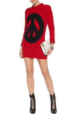LOVE MOSCHINO Bubble intarsia-knit mini dress