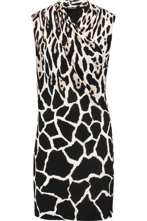 ROBERTO CAVALLI Wrap-effect printed jersey mini dress