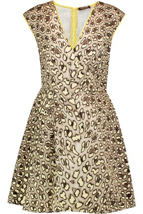 ROBERTO CAVALLI Leopard-print cotton-canvas mini dress