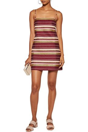 ZIMMERMANN Karmic striped glittered cotton-blend mini dress