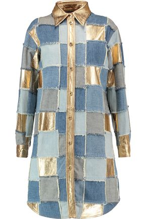 MOSCHINO Patchwork denim and metallic leather mini shirt dress