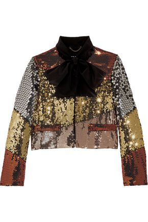 MOSCHINO Pussy-bow sequinned crepe de chine jacket