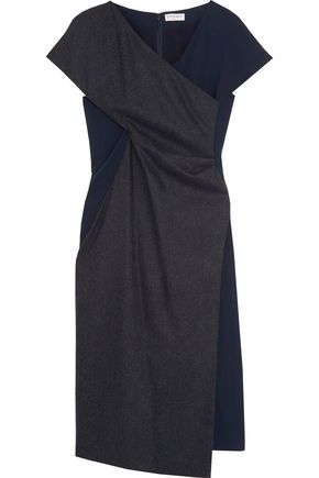 VIONNET Crepe-paneled wool and cashmere-blend dress