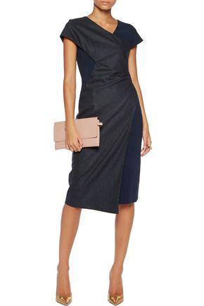 VIONNET Crepe-paneled wool and cashmere-blend dress