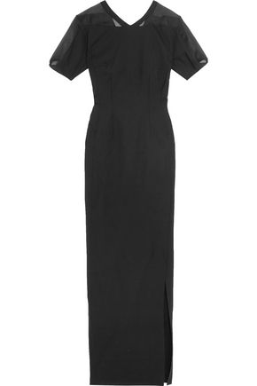 VIONNET Silk organza-paneled wool-blend maxi dress