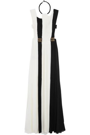 VIONNET Two-tone pleated georgette gown