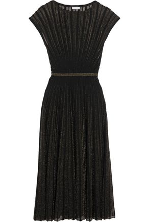 VIONNET Pintucked metallic wool-blend midi dress