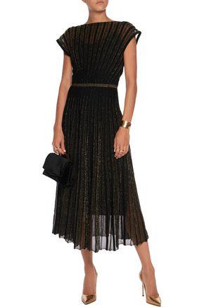 VIONNET Pintucked metallic wool-blend midi dress