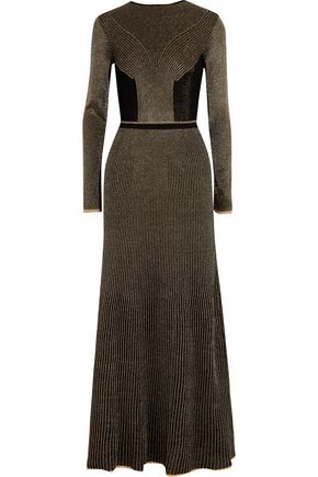 VIONNET Metallic crochet-knit wool maxi dress