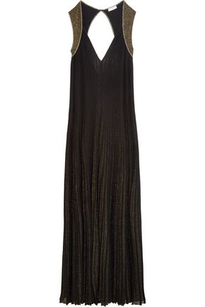 VIONNET Two-tone metallic stretch-knit gown