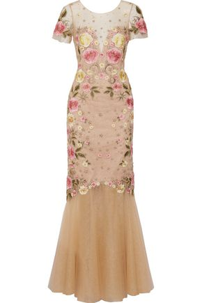 MARCHESA NOTTE Fluted embellished embroidered tulle gown