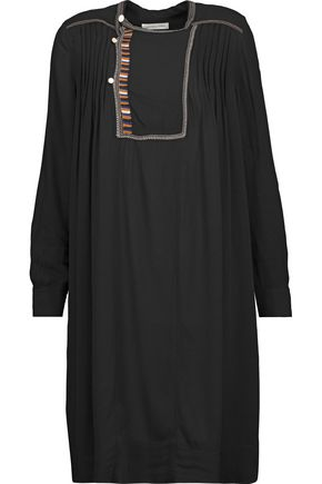 ISABEL MARANT ÉTOILE Pintucked embroidered crepe dress