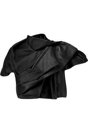 RICK OWENS Cropped draped leather jacket