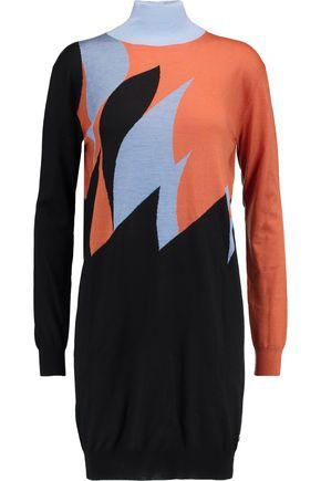 VIONNET Intarsia wool, cashmere and silk mini turtleneck dress