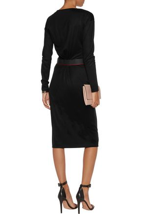 VIONNET Grosgrain-trimmed ruched stretch-wool dress