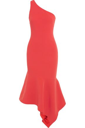 CINQ À SEPT Dulcina one-shoulder fluted crepe midi dress