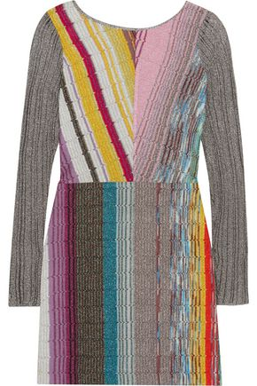 MISSONI Metallic crochet-knit mini dress