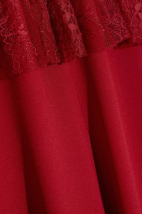PHILOSOPHY di LORENZO SERAFINI Lace-paneled crepe mini dress