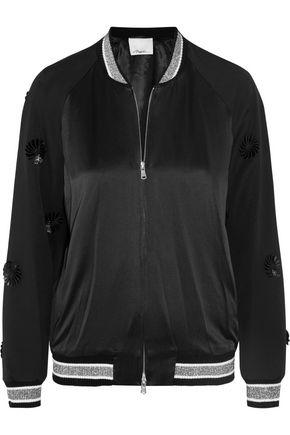 3.1 PHILLIP LIM Appliquéd wool and silk-satin bomber jacket