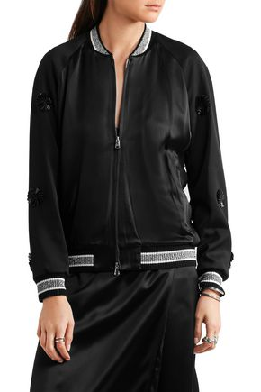 3.1 PHILLIP LIM Appliquéd wool and silk-satin bomber jacket