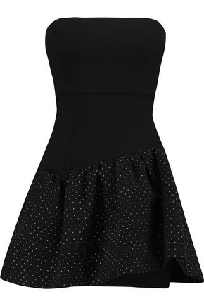 MAJE Strapless pleated stud-embellished crepe mini dress