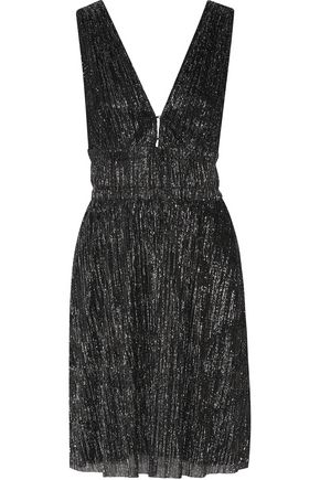 MAJE Rimalda metallic stretch-knit mini dress