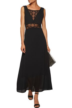 MAJE Lace-paneled crepe maxi dress