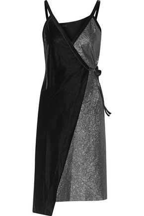MAJE Richa paneled velvet and textured-lamé wrap dress
