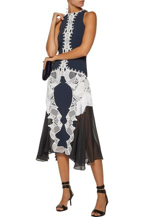 JONATHAN SIMKHAI Guipure lace-appliquéd crepe and silk-chiffon dress