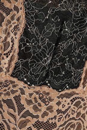 SANDRO Color-block embroidered lace midi dress