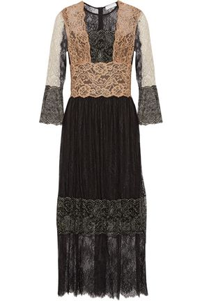 SANDRO Color-block embroidered lace midi dress