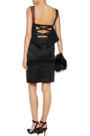 MAISON MARGIELA Mesh-paneled layered satin dress