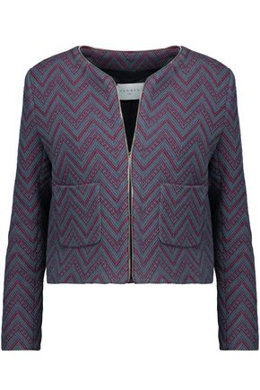 SANDRO Andy two-tone cotton-blend bouclé blazer