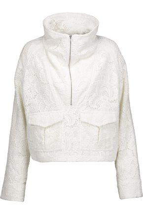 A.L.C. Clarke layered cotton guipure lace and cotton-blend twill jacket