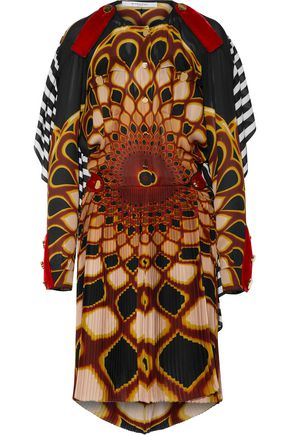 GIVENCHY Open-back printed pleated silk-chiffon mini dress