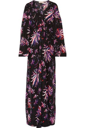 EMILIO PUCCI Gathered floral-print silk-satin maxi dress