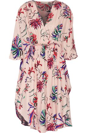 EMILIO PUCCI Ruffle-trimmed printed silk crepe de chine dress