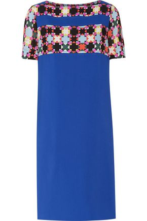 EMILIO PUCCI Printed chiffon-paneled crepe dress