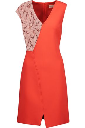 EMILIO PUCCI Guipure lace-paneled asymmetric crepe dress