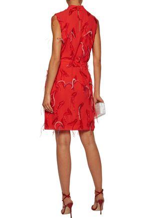 EMILIO PUCCI Feather-embellished embroidered chiffon mini dress