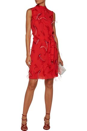 EMILIO PUCCI Feather-embellished embroidered chiffon mini dress