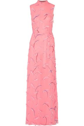 EMILIO PUCCI Feather-embellished embroidered chiffon gown