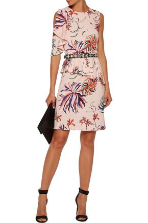 EMILIO PUCCI Silk-trimmed printed crepe peplum mini dress