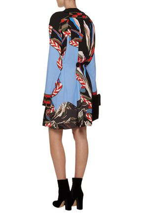 EMILIO PUCCI Pleated embellished printed crepe mini dress