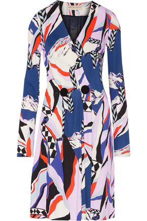 EMILIO PUCCI Embellished wrap-effect printed jersey dress
