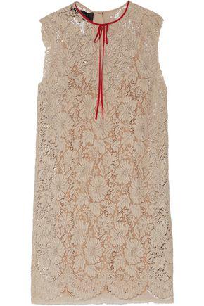 GUCCI Grosgrain-trimmed cotton-blend lace mini dress