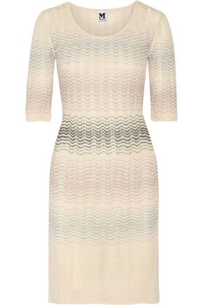 M MISSONI Striped crochet-knit cotton-blend mini dress