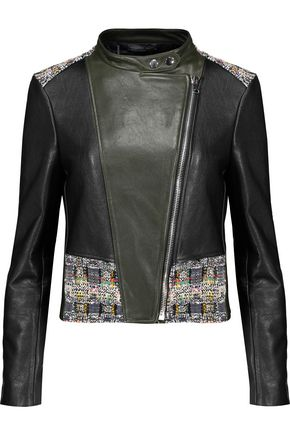 ALEXANDER MCQUEEN Cotton bouclé-paneled faux leather  jacket