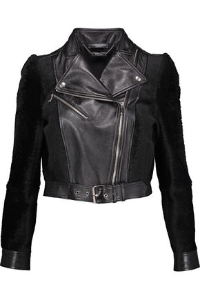ALEXANDER MCQUEEN Paneled shearling and leather jacket
